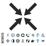 Center Arrows Flat Glyph Icon With Bonus Stock Photo
