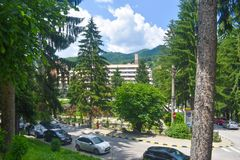 The center of the balneary thermal water resort Baile Olanesti with hotels, guest houses and green parks in a beautiful summer day. Romanian travel destination stock photos