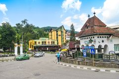 The center of the balneary thermal water resort Baile Olanesti with hotels, guest houses and green parks in a beautiful summer day. Romanian travel destination stock images