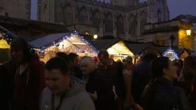 Center of Bath, busy xmas market stock video