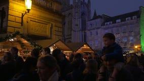 Center of Bath, busy xmas market stock video footage