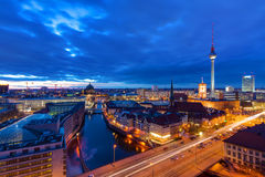 The center of Berlin after sunset Stock Image