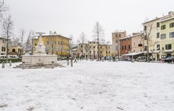 The center of Bientina, after a snowfall, Pisa, Tuscany, Italy stock photo