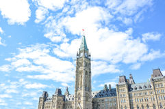 The Center Block and the Peace Tower in Parliament Hill Royalty Free Stock Image