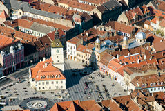 Center of Brasov. View over center of the old town of Brasov City (Transylvania, Romania Royalty Free Stock Images