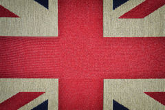 Center of british flag on old canvas texture Stock Photography