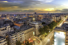 Center of Bucharest at sunset stock photos