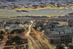 Center of Bucharest at sunset Royalty Free Stock Images
