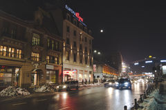 The center of Bucharest, Unirii area, by night. Stock Photos