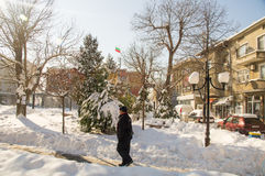 In the center of Bulgarian Pomorie, winter Royalty Free Stock Image