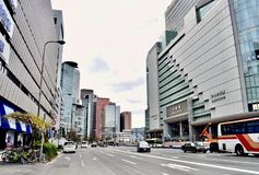 Japan Osaka business district office buildings and center station. Center business district of Osaka Japan, exquisite gray office buildings and center station in Royalty Free Stock Photography