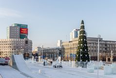 At the center of the Chelyabinsk city in winter time Stock Image