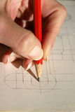 Center of a circle. Hand drawing geometric images Royalty Free Stock Photos