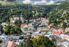 Center of city Banska Stiavnica. Stock Images