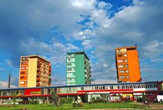 Center of city of Bor,Serbia. Colourful buildings in center of Bor ,the city in east Serbia famous in minening stock photo