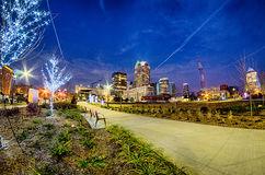 Center city charlotte north carolina decorated for christmas Royalty Free Stock Photography