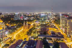 Center city in the night. Ho Chi Minh city. Ho Chi Minh City has the most dynamic economy in Vietnam.nPhoto taken on: 01 May 2016 Stock Photos