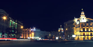 The center of the city at night Kharkov Royalty Free Stock Photography