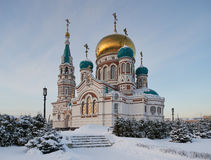 Center of the city of Omsk, Cathedral Square,  Siberia, Russia. Royalty Free Stock Photography