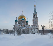 Center of the city of Omsk, Cathedral Square,  Siberia, Russia. Stock Photos