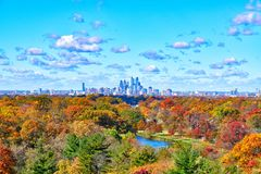 Center City Philadelphia Skyline with Fall Colors royalty free stock images