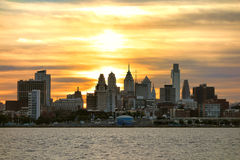 Center City Philadelphia Sunset on Delaware River. Downtown Center City Philadelphia scenic skyline with skyscraper buildings and Old City historic landmarks on Royalty Free Stock Photography