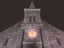 Center Congregational Church exterior at night. In Torrington Connecticut United States stock photo