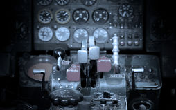 Center console and throttles in airplane Royalty Free Stock Photo