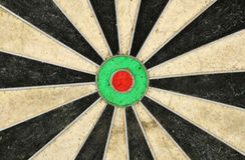 center dartboard fotografering för bildbyråer
