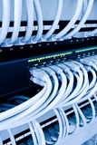 center datanätverk för kablar Arkivbilder