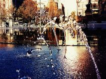 A look at the fountains of the rebuilt Cleveland Public Square Royalty Free Stock Images