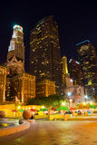 Center of downtown Las Angeles. At night Royalty Free Stock Photo