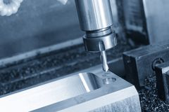 The center drill tool on the CNC milling machine Royalty Free Stock Image