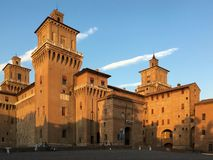 The  Center of Ferrara Italy-panoramic view. The center of the medieval city of Ferrara in the province of Emilia Romagna Italy. September 9, 2016. The Castle Stock Photo