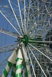 Center of ferris wheel. Center shot of an observation wheel on a carnival area stock images