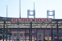 Center Field Sign at the Ballpark Village, Downtown St. Louis Stock Image