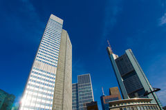 In the center of the financial district in Frankfurt, Germany Stock Photo