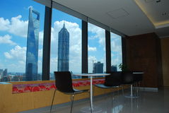 center finansiella shanghai arkivbilder