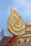 Center focus of golden lai thai pattern on the red roof of buidling in the public location wat sareesriboonkam temple of lampoon Stock Photos