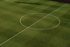 Center of the football sports field Royalty Free Stock Image