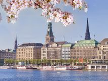 Center of Hamburg city in springtime Royalty Free Stock Images