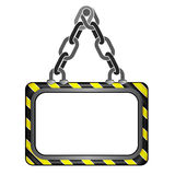 Center hanged black yellow striped chain board  template Stock Image