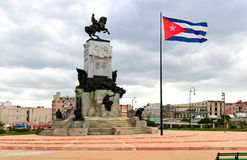 Center of Havana. The monument and flag of Cuba in Havana Royalty Free Stock Photo