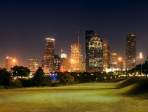 Center Houston, Downtown in the night. Texas, US Stock Photo
