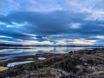 Center of Iceland. A landscape photo at sunset in thingvellir Stock Photography