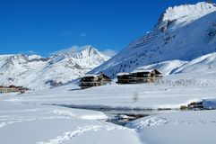 center lac le ski tignes 免版税图库摄影