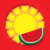 In center is large sun as circle banner for text and is adorned with juicy slice of watermelon. Bright red background with grunge halftone. In center is large royalty free illustration