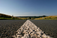 Center line of a country road. Between Kassel and Ahnatal, Germany stock images