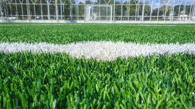 Center line of a soccer grass field Stock Image