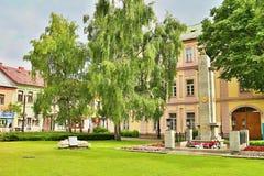 Center in Liptovsky Mikulas. Monument 2 WW in center town Liptovsky Mikulas Stock Photo